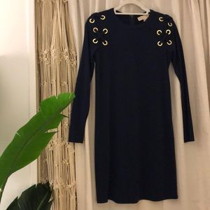 Michael Kors Navy Long Sleeve Cocktail Dress